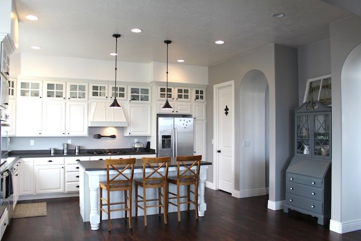 Marvelous Lovely Kitchen Design With Gray Walls Painted Benjamin Moore Ozark Shadows  Lighter, Gray Hutch, White Kitchen Cabinets U0026 Kitchen Island, Black  Countertops, ...