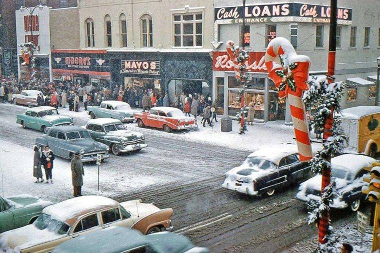 Street Scene, Marion, Indiana, December 1958 Vintage