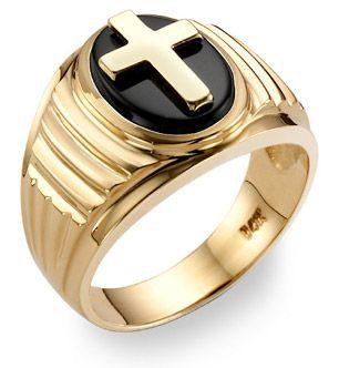 f76cb0c8b8b8e 14K Gold Men's Onyx Cross Ring   Accessories   Rings, Size 10 rings ...