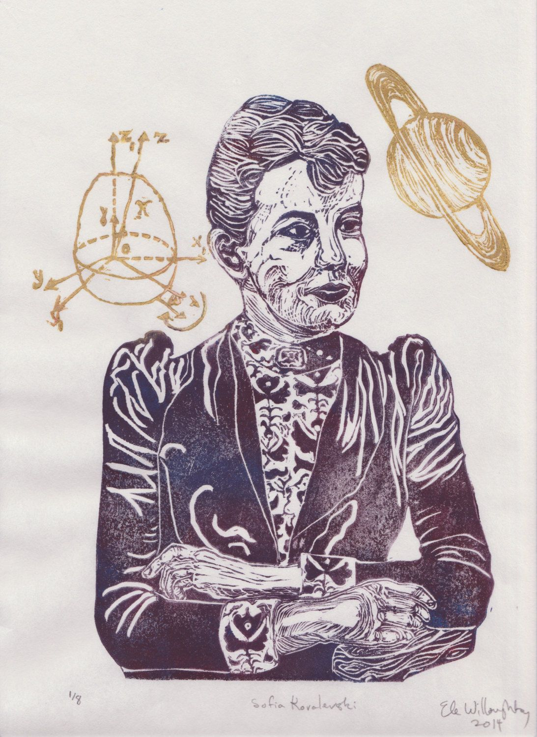 New to minouette on Etsy: Mathematician Sofia Kovalevski Linocut - History of Science Math & Literature Women in STEM Lino Block Portrait Print Sofia Kovalevski (39.00 USD)
