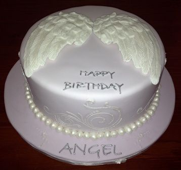 Pleasant Angel Wings Birthday Cake With Images Angel Wings Cake Funny Birthday Cards Online Elaedamsfinfo