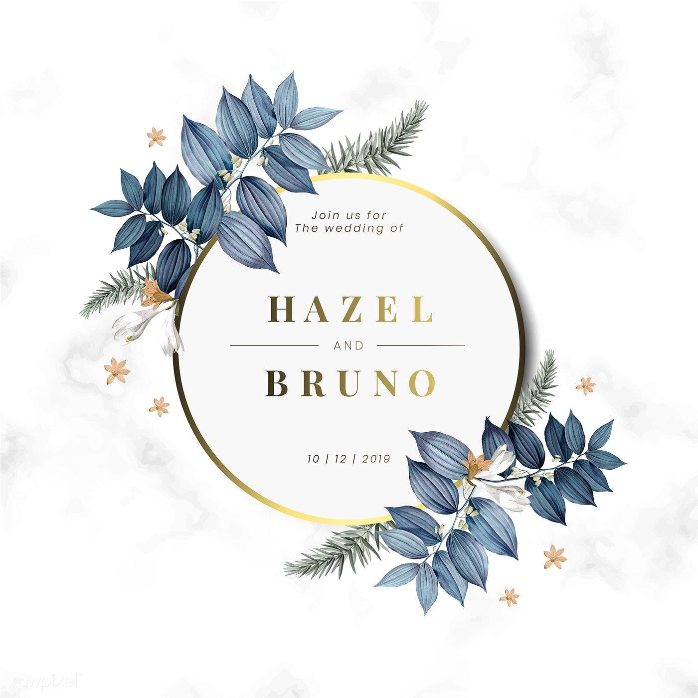 Download premium vector of Floral wedding invitation card design