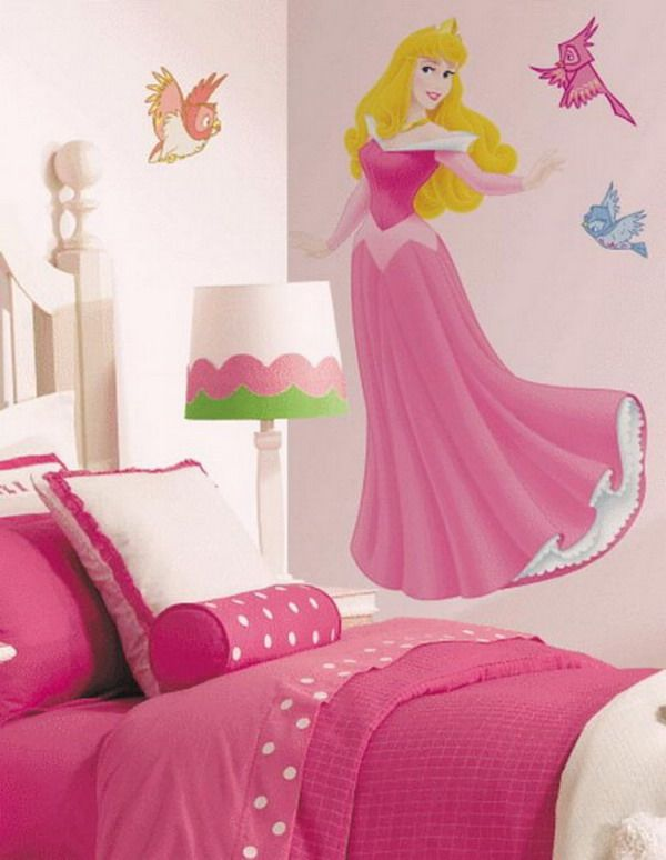 Cute Girls Bedroom With Pink Colorful Wall Murals Ideas   The Beauty Of  Bedroom Interior Design Photo