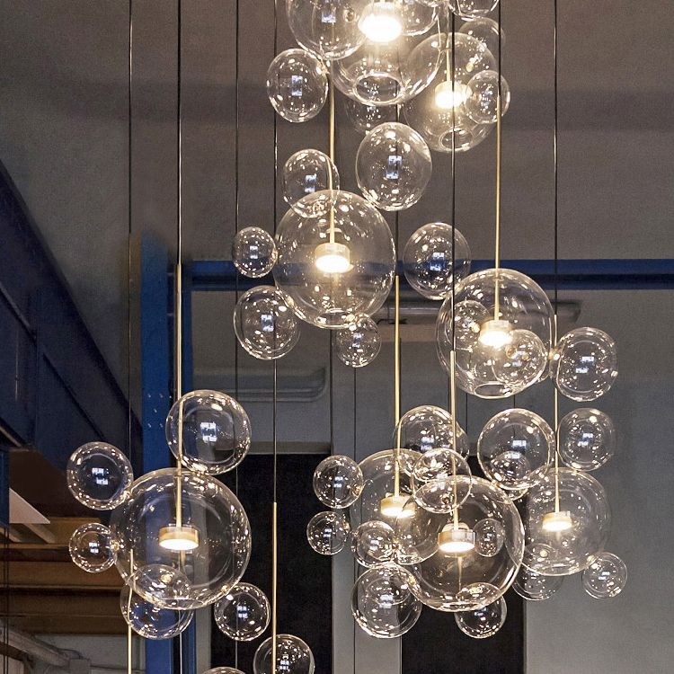 Objective Nordic Vertical 3 Light Glass Globe Lustre Chandelier Sofa Side Luminarias Led Pendant Chandelier Indoor Suspend Lamp Fixtures Lights & Lighting Ceiling Lights & Fans