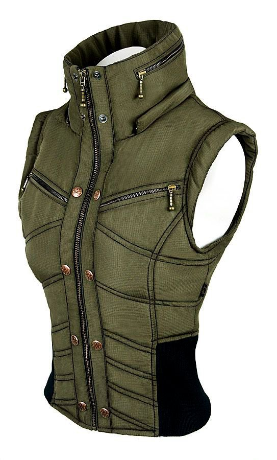 Double Breasted Army Green Vest Fashion Women