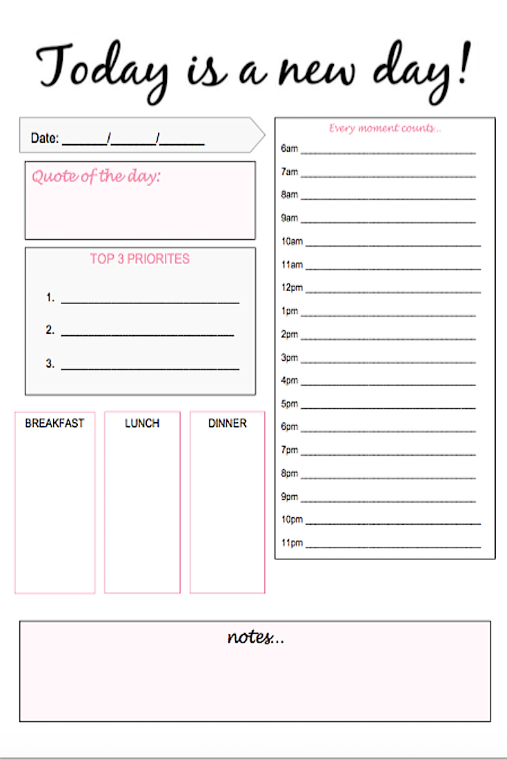 free printable daily planning pdf  get your life organized