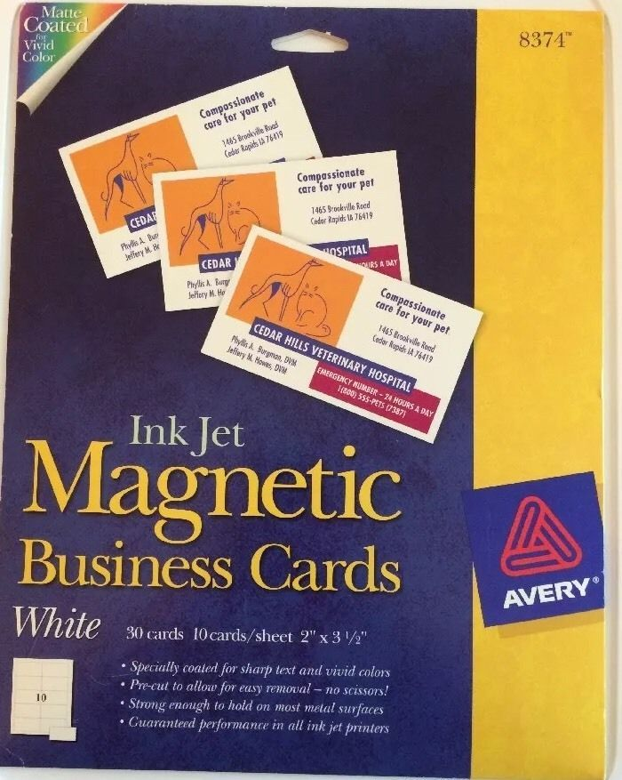 Avery inkjet magnetic business cards white 8374 3 sheets matte ave 8374 avery magnetic inkjet business cards ave8374 reheart Gallery