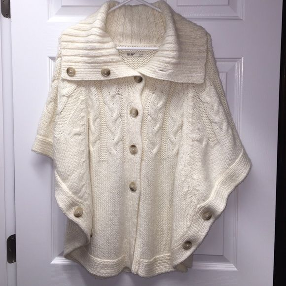 *~ Old Navy Button-Front Cable-Knit Cape ~* *~ Old Navy Button-Front Cable-Knit Cape Sweater ~* Cute & cozy, Thick cable knit that buttons up the front, has a collar that can be worn as a turtleneck or open. Buttons on the side to create armholes. Old Navy Sweaters Shrugs & Ponchos