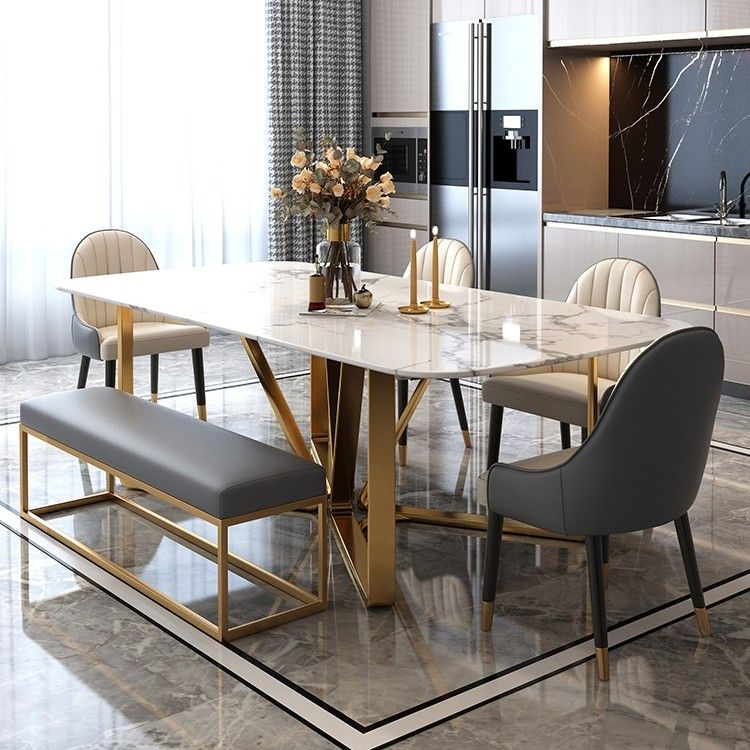 Modern Rectangle 63 In 2021 Dining Table Marble Dining Room Table Marble Faux Marble Dining Table