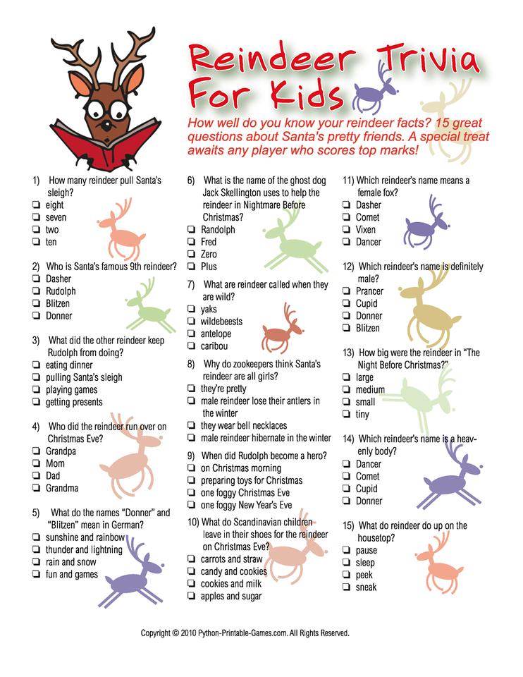 Reindeer trivia Christmas trivia games, Christmas trivia