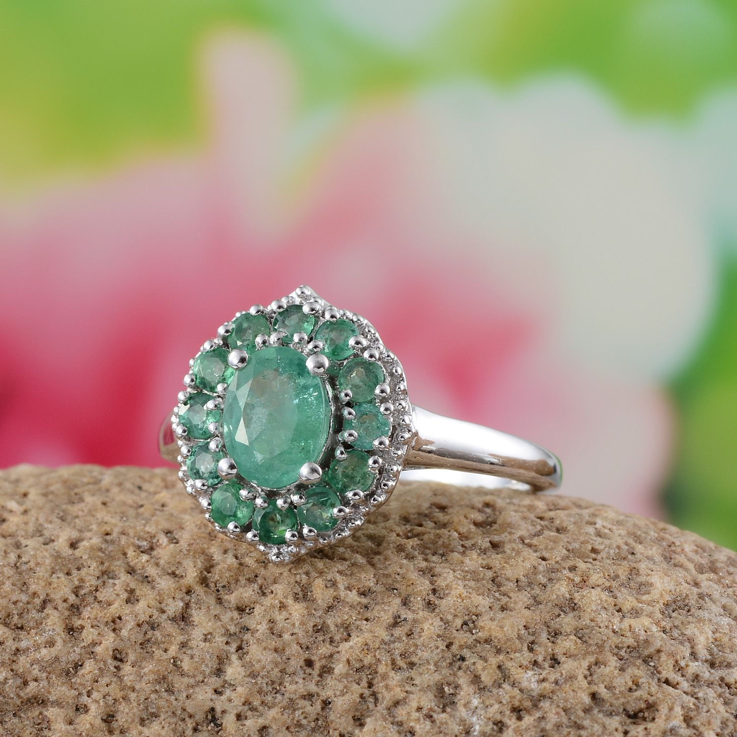 Kagem Zambian Emerald Platinum Over Sterling Silver Ring (Size 6.0 ...