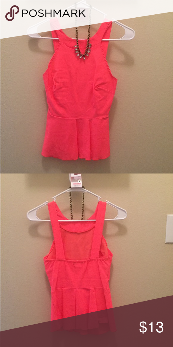 Coral Peplum Top Peplum top with box style open back Tops Tank Tops