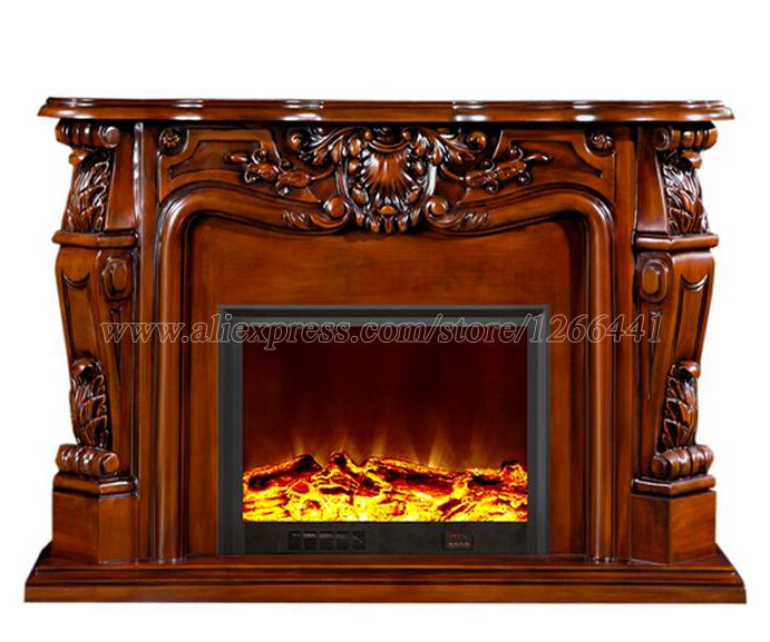 Decorative Fireplace Set Wooden Mantel W124cm Electric Fireplace Insert  Burner Room Warmer LED Optical Flame Deocration
