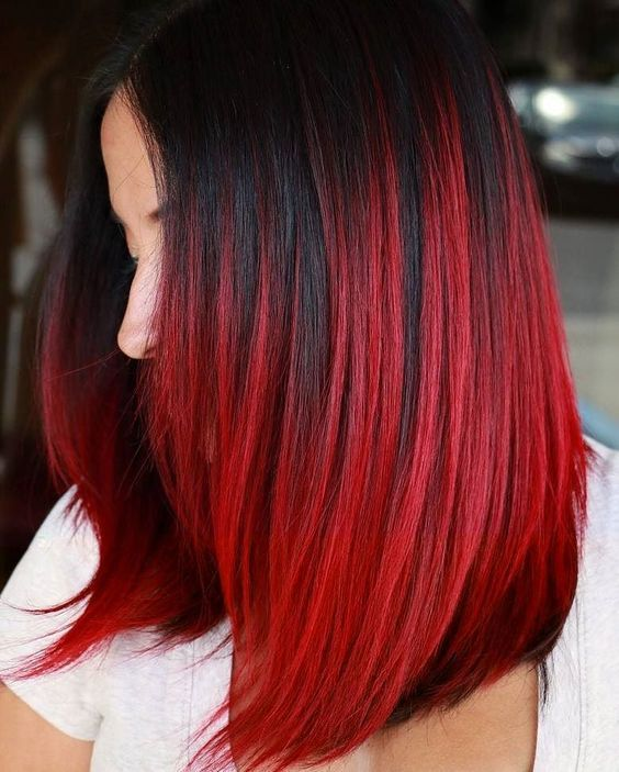 Black Hair With Fiery Red Balayage Bright Red Hair Color Shades Of Red Hair Red Ombre Hair