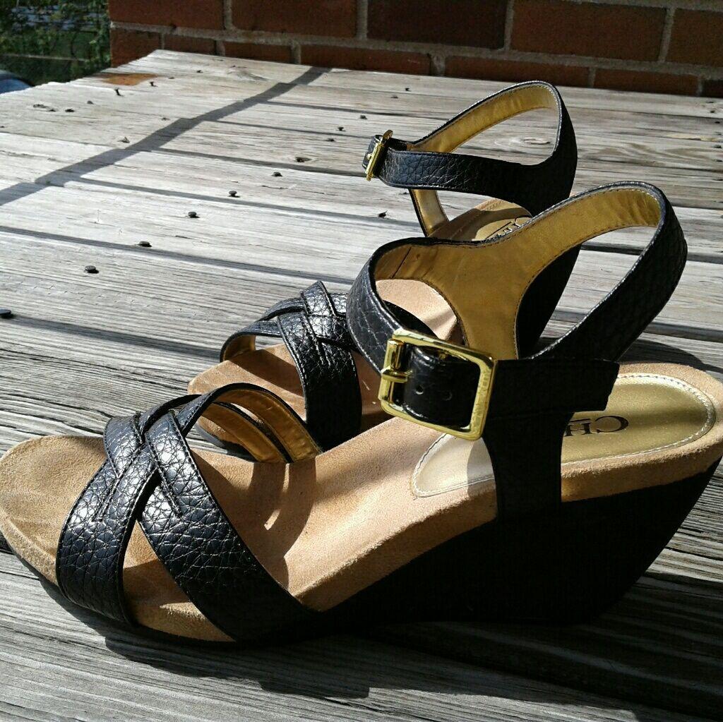 d816862f2f1 Black Chaps Wedge Sandal