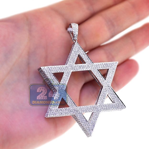c7a4810518635 14K White Gold 8.34 ct Diamond Star of David 3D Pendant in 2019 ...