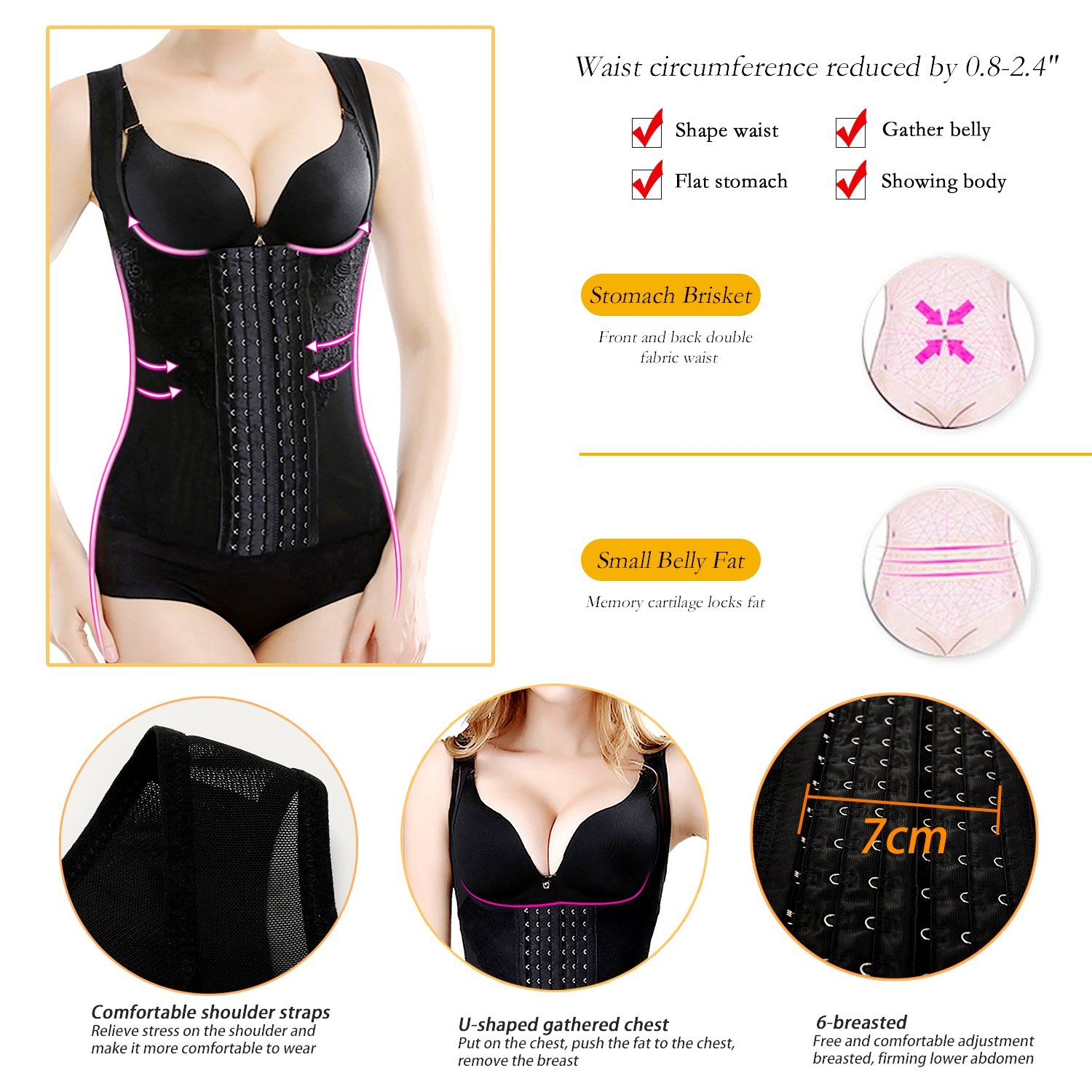 60ce95258c3 Lilight Waist Trainer Corset for Women Adjustable Underbust Cincher Weight  Loss Body Shaper Vest Black 4XL   Learn more by visiting the image link.