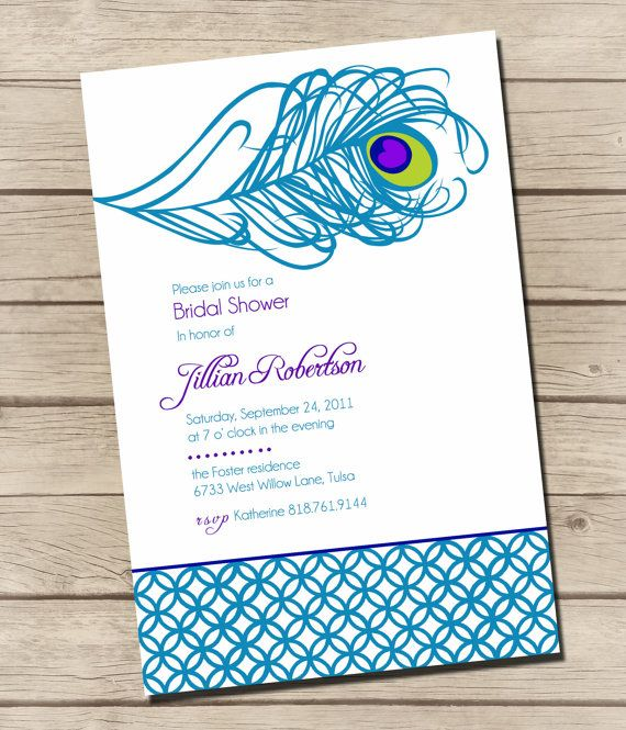 PRINTABLE Swanky Peacock Bridal Shower by UrbanFrontiers on Etsy