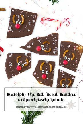 Geschenkidee: DIY Rudolph The Red-Nosed Reindeer Weihnachtsschokolade #kleinigkeitenweihnachten