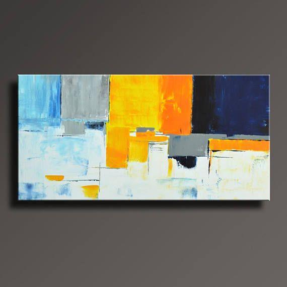 Peinture Abstraite Bleu Jaune Gris Blanc Peinture Original