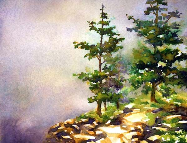 acadia pines painting demonstration by jennifer branch