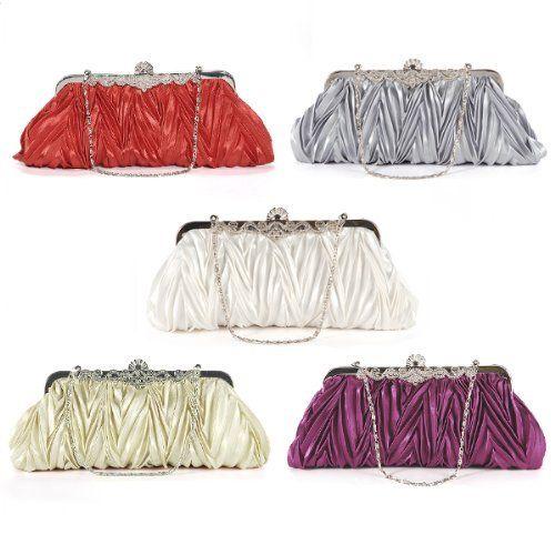 fa9ff8112c9a5 Crystals kiss lock satin pleated evening wedding prom bridal clutch lady  handbag
