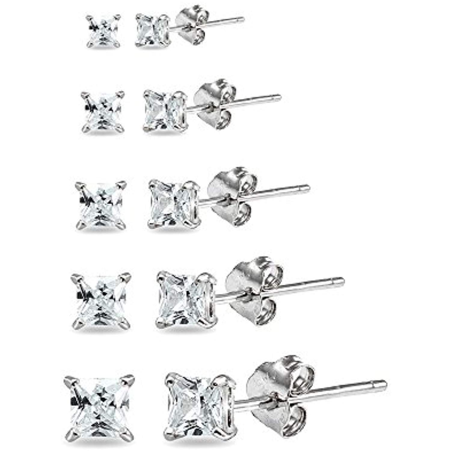 d17c71139 5 Pair Set Sterling Silver Cubic Zirconia Princess-Cut Square Stud Earrings,  2mm 3mm 4mm 5mm 6mm ** Learn more by visiting the image link.