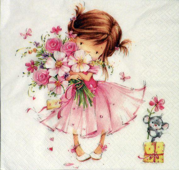 Paper Napkins For Decoupage Cute Girl Flower Girl Pink