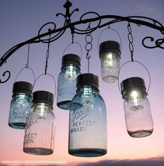 Photo of Garden Solar Jar Lights 6 Mason Jar Solar LIDS Garden Decor, Weddings, Outdoor Garden Lighting, Hanging Mason Jar Light LIDS ONLY, No Jars