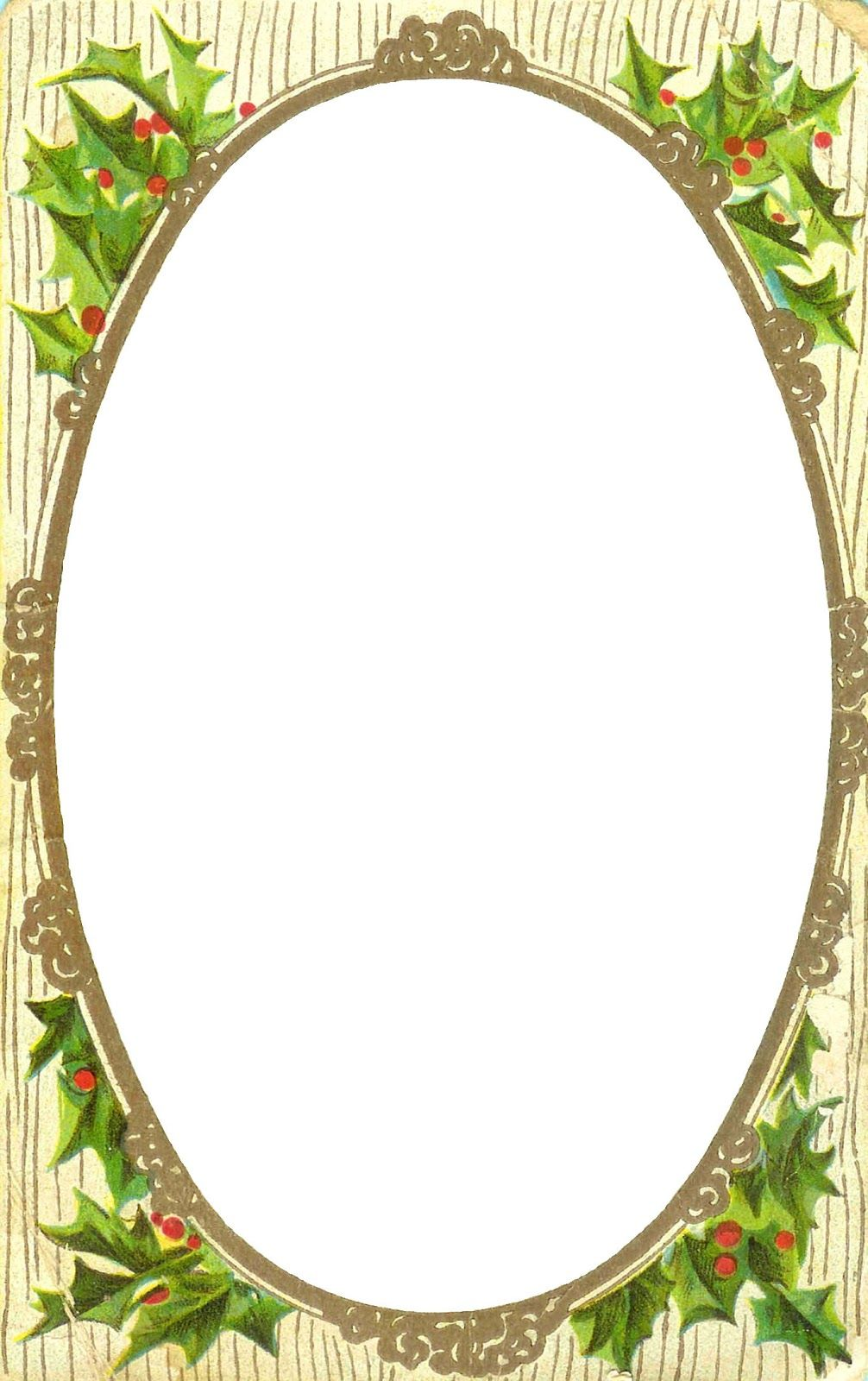 Antique Images Free Printable Christmas Label Clip Art Of Holly Berry Frame From