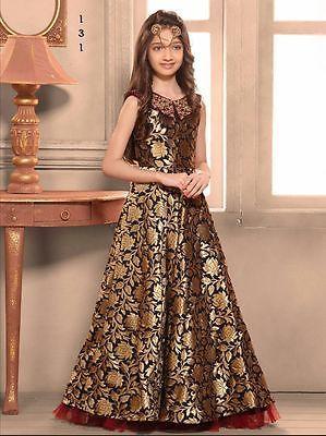 c7fe0a7a7b2 Indian kids girls Gown Pakistani designer Bollywood wedding wear gown 131