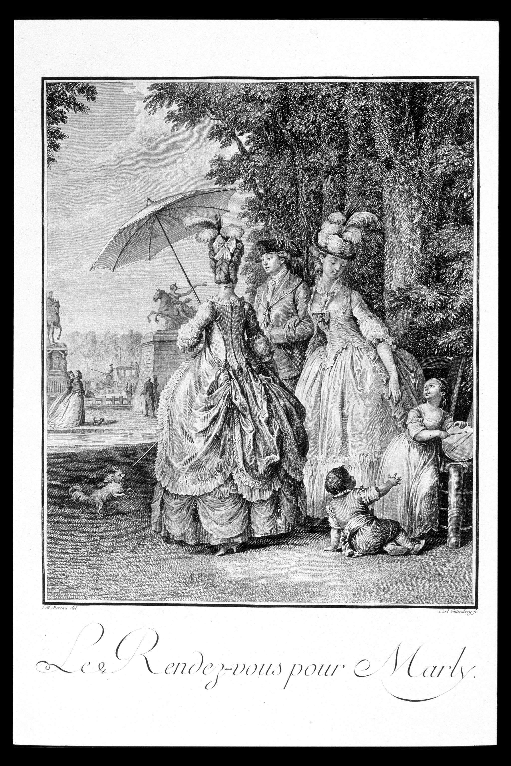 """Moreau le Jeune's painting """"Le Rendez-vous"""" was the inspiration for the 1779 doll."""