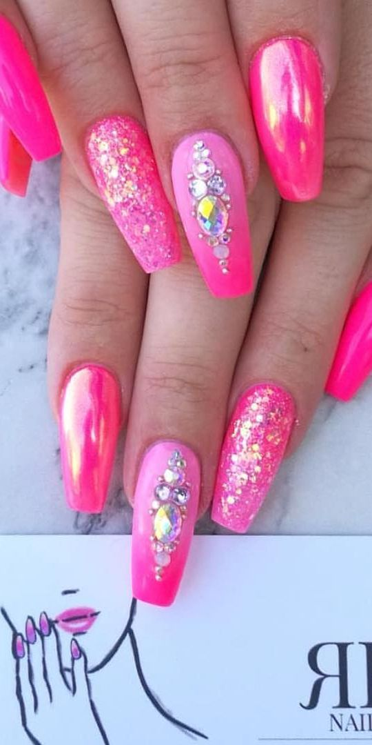 32 Super Cool Pink Nail Designs That Every Girl Will Love Pink Nail Designs Hot Pink Nails Pink Nails