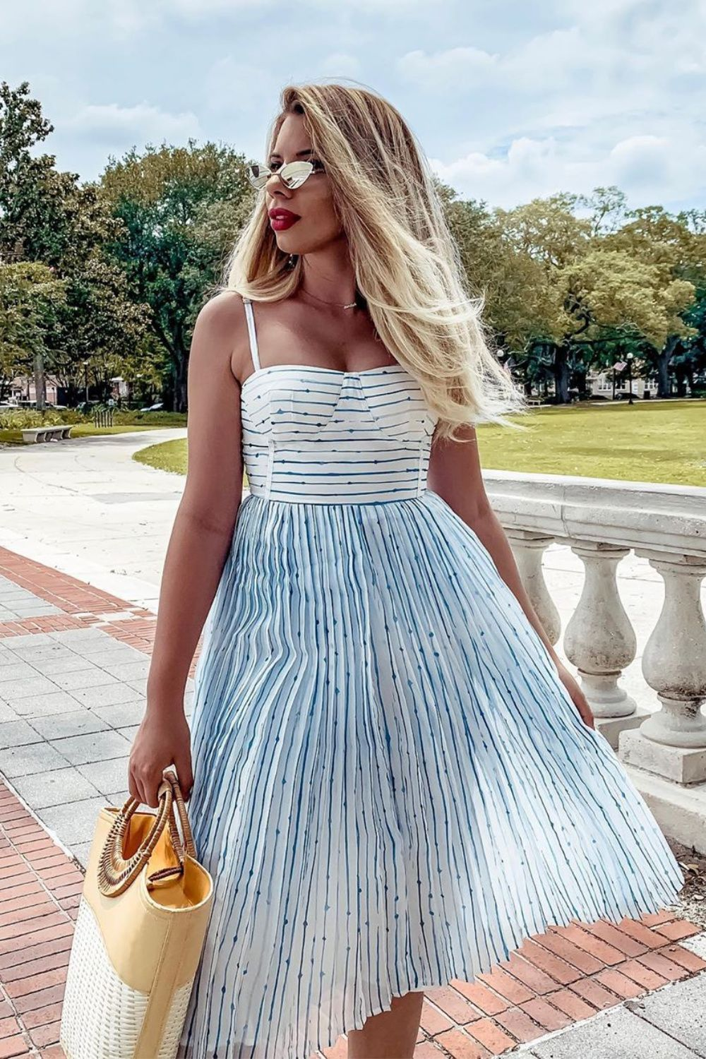 Summer In Santorini White And Blue Striped Midi Dress Striped Midi Dress Womens Fashion Fashion [ 1500 x 1000 Pixel ]