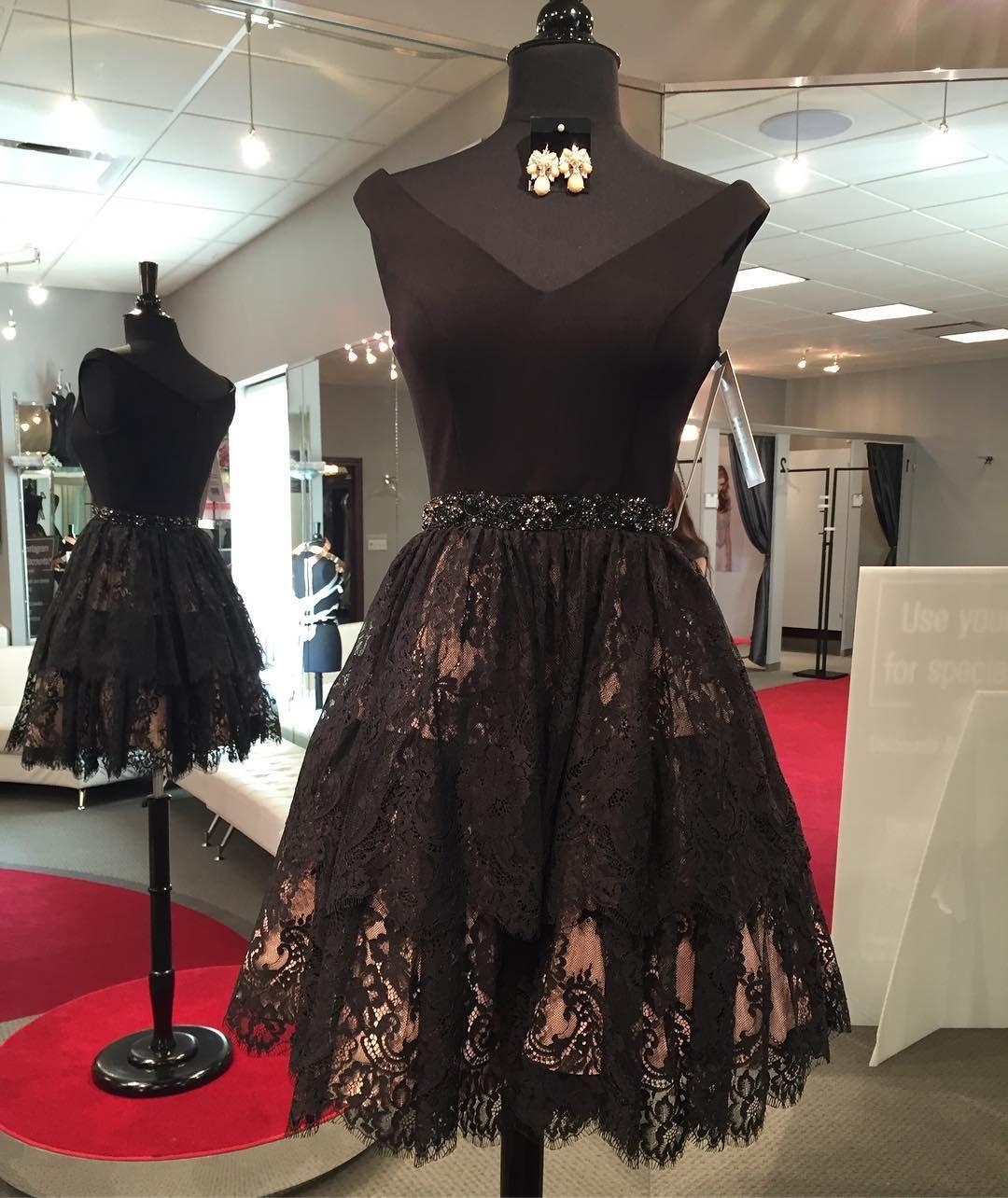 Black lace homecoming dressshort prom dressescocktail dress