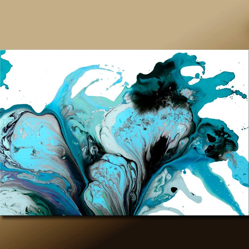 Teal Wall Art large abstract art print turquoise teal aqua & black contemporary