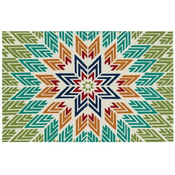Aztec Multi Color Indoor Outdoor Rug 5 X 7 In Liked On Polyvore Featuring Home Rugs Colorful Colored Multicolor