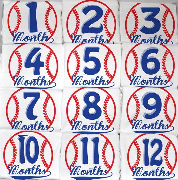 Baseball Baby Boy Monthly Onesies 12 Month Set by peanutandtheowl