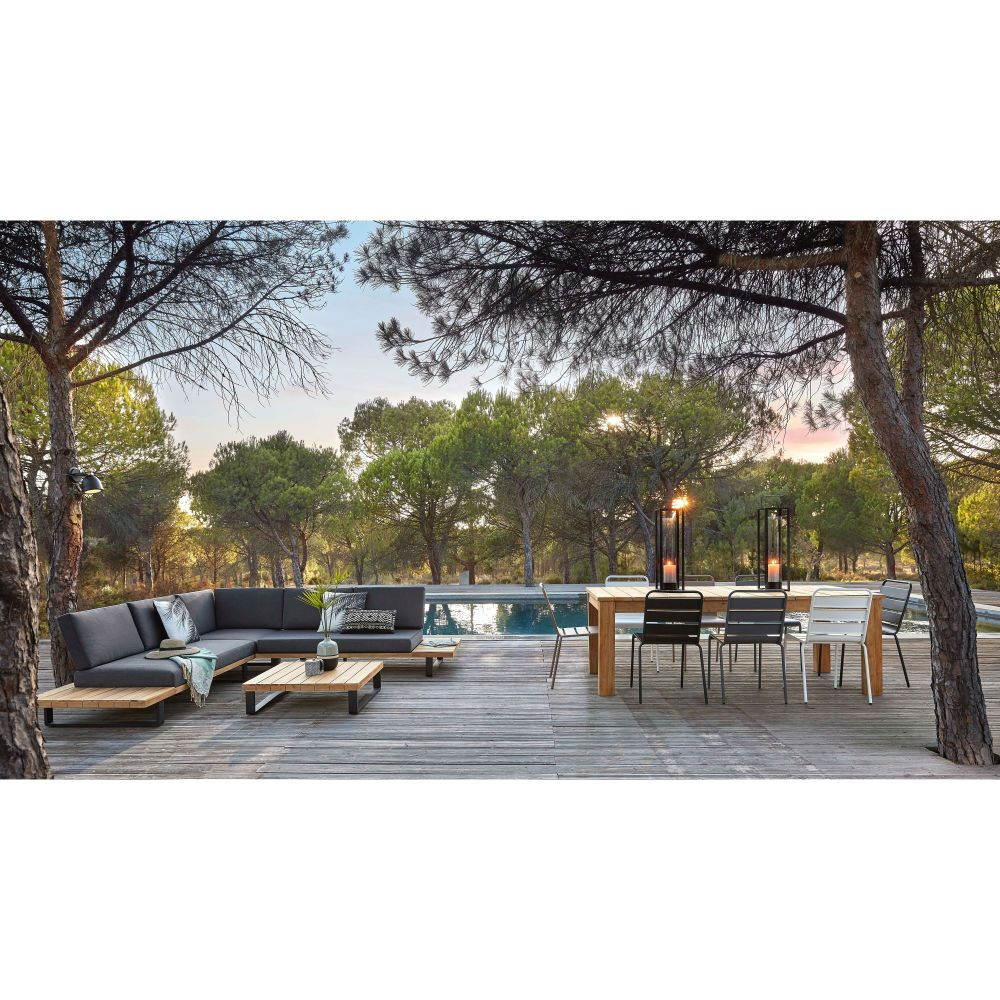 Salon de jardin 4/5 places en aluminium et acacia massif | Maisons ...