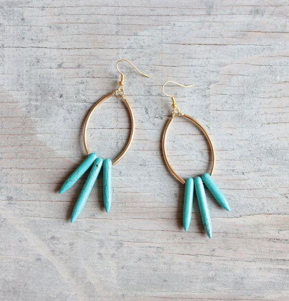 "Turquoise spike earrings "" Nereus """