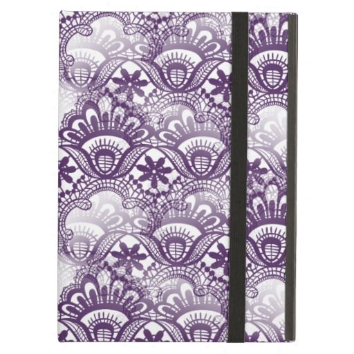 Cool Vibrant Distressed Purple Lace Damask Pattern iPad Case SOLD on Zazzle
