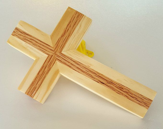 Wood wall cross made of red oak and pine. handmade wooden cross ...