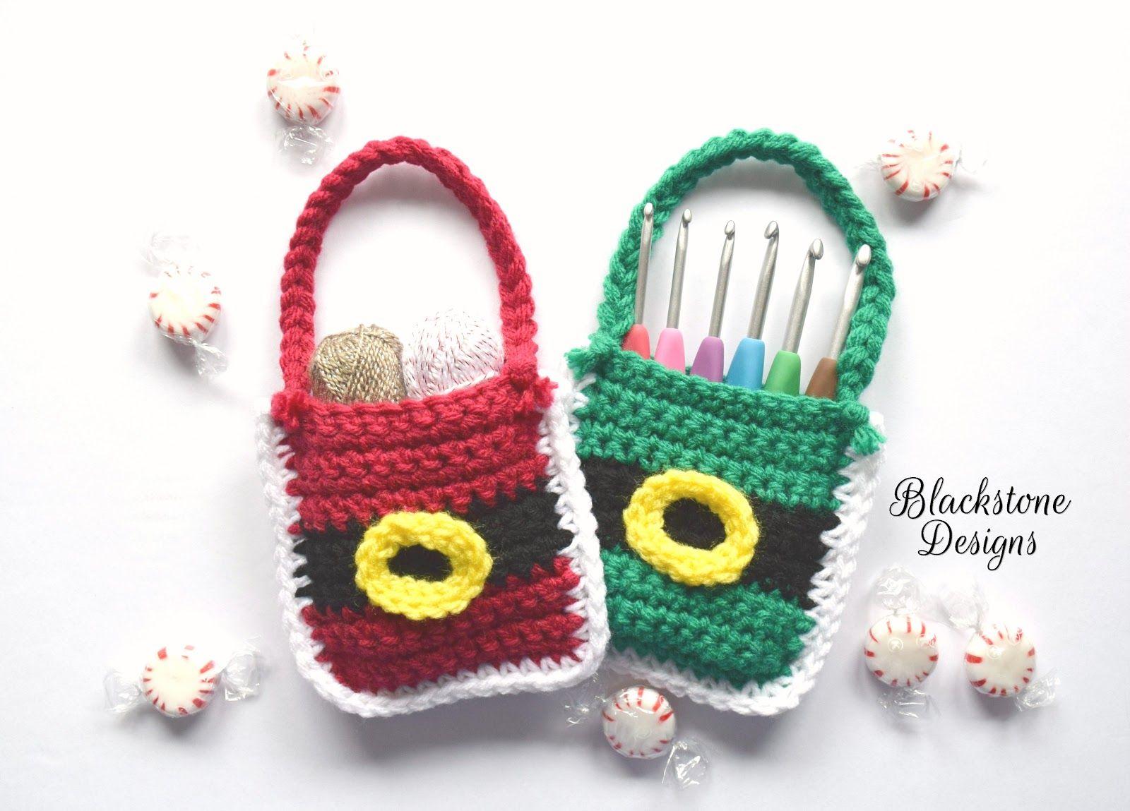 Santa or Elf Belly Treat Bags   Puntos crochet y Puntos