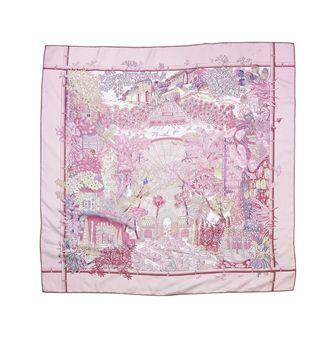 Hermes Pink Jardins D'Hiver Silk Scarf
