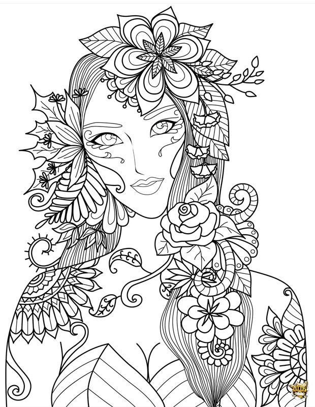 Femme fleurs zen pinterest coloriage coloriage adulte et coloriage mandala - Coloriage difficile a colorier ...