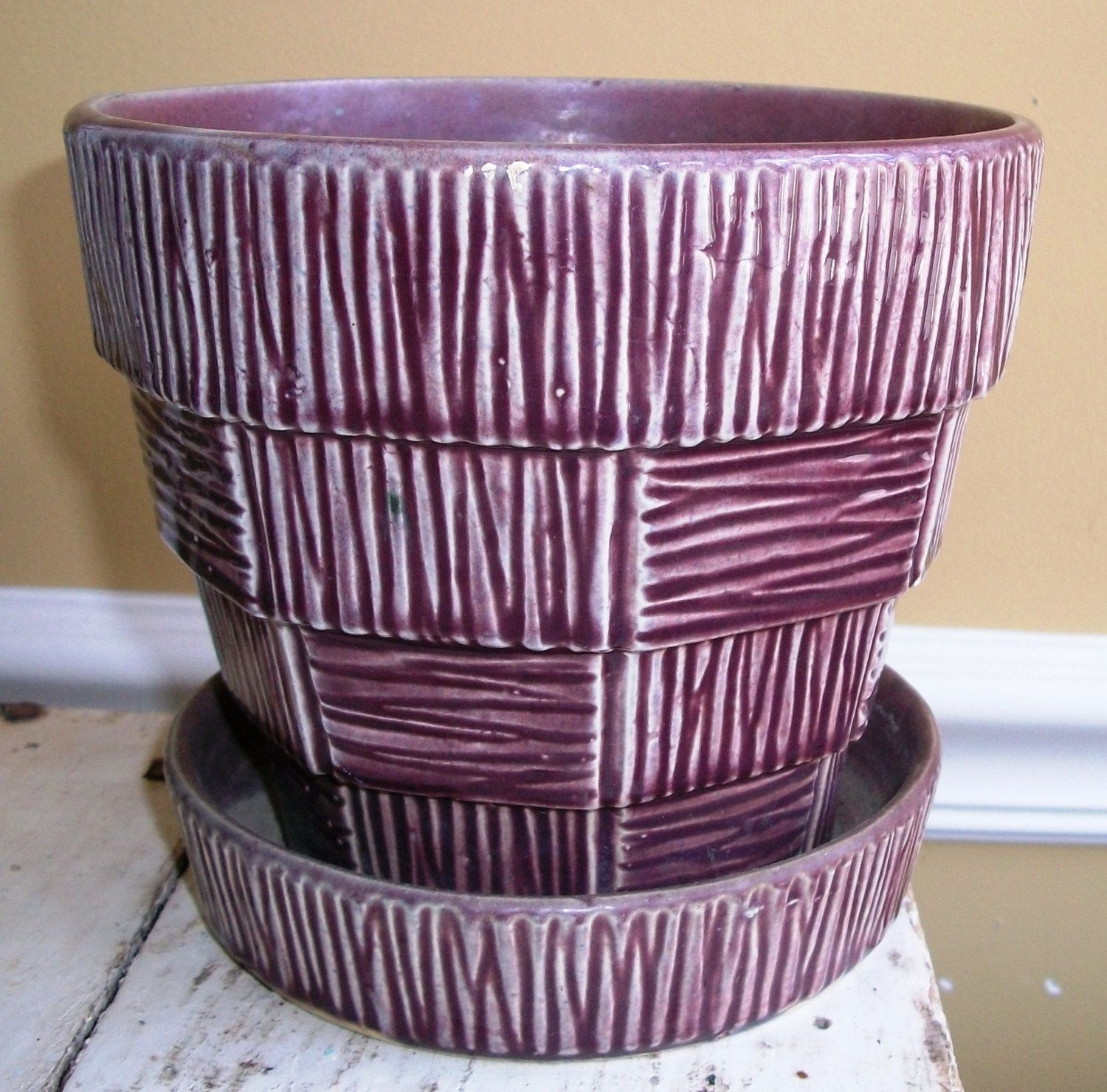 Ceramic Flower Pot Large Vintage Mccoy Pottery Rare Large Purple Flower Pot W