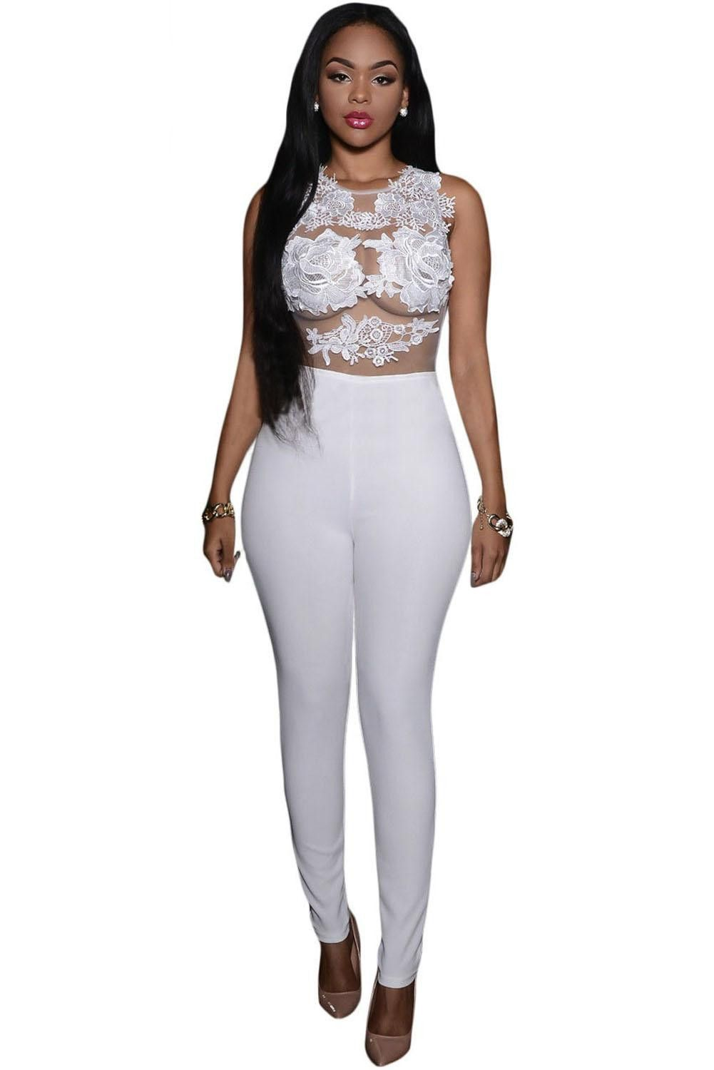 Lace bodysuit south africa  Women Jumpsuits Sexy Forla Lace Transparent Top White Black Red