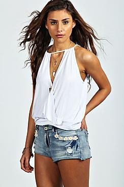Isabelle Wrap Front High Neck Drawstring Cami