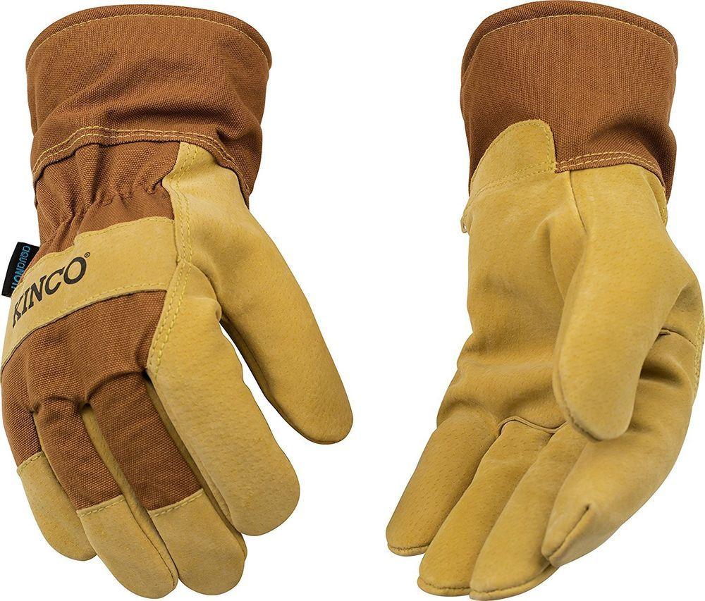 Kinco 1958 Pigskin Leather Mens Work Gloves Waterproof Winter Lined Construction Work Gloves Gloves Pig Skin