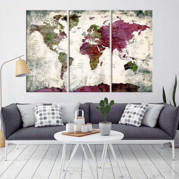 World Map Wall Art World Map Canvas World Map Print World